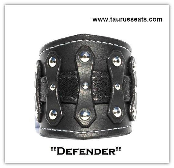 Black Leather Cuff Bracelet | Mens Wristband | Motorcycle Accessory | Bikers Leather Cuff | Mens Cuff Bracelet | Chrome Rivets, Studded Cuff