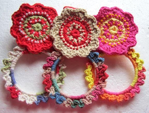 Beaded Flower Kitchen Towel Holder Crochet Pattern