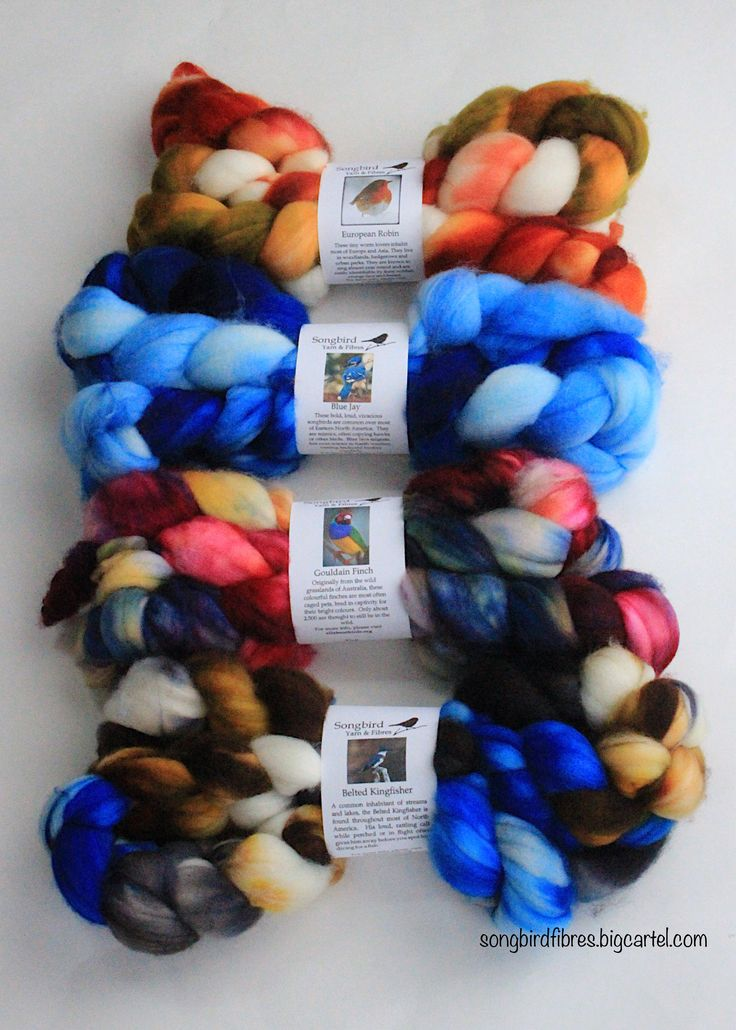 Gorgeous Combed Top dyed to order in any Songbird colourway.  SW Merino holds vibrant colours! Spinners and weavers will love the soft but brilliant bird inspired colours!