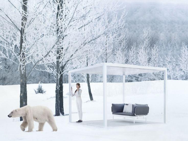 Beschattung Terrasse Garten Sonnenschutz Natur Weiss Minimalistisch Glas