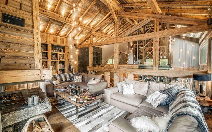 Descargar fondos de pantalla Chalet de Interiores, Ideas para el interior, la madera en el interior, Chalet sala de estar, moderno, interior, faroles colgantes
