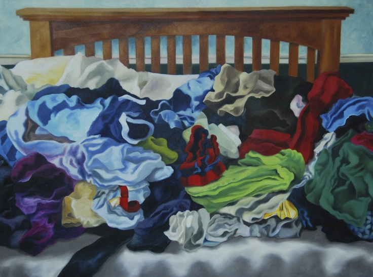 May Laundry Pile, oil on canvas