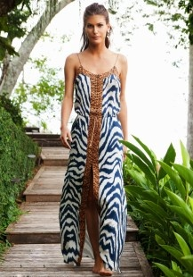 Vix Swimwear - Cape Maxi Dress - gorgeous unlikely combo of #leopardprint and blue and white available at The ShOwroom Oakville https://www.facebook.com/media/set/?set=a.446814245460395.1073741831.251063178368837&type=3