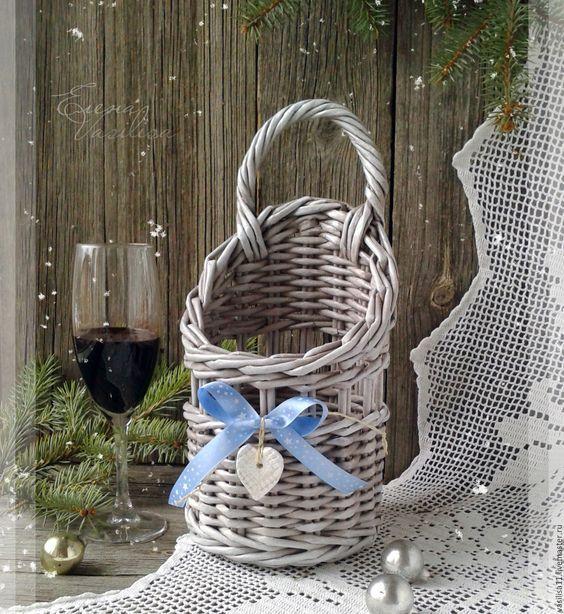 Купить Зимний Короб для шампанского, вина плетеный - чехол для вина, плетеная корзина: