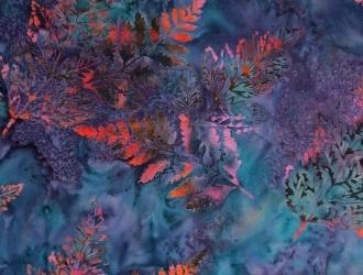 "Hoffman Batiks Vegas Bali Handpaints Leaf Pattern On Bluish, Aqua Green Background, 100% Cotton, 42"" wide, Price/metre Item #: 2440-358 Vegas Order now! www.quiltcountry.ca"