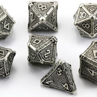 Pathfinder Dice: Reign of Winter. Adventure in the frozen tundra with Pathfinder RPG dice. Reign of Winter dice bear the runes and mysterious symbols of frosty magic and arctic adventure.