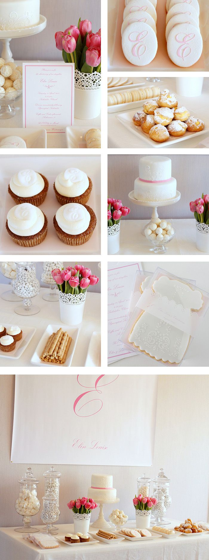 sweet christening Lace and Embroidery Dessert Table