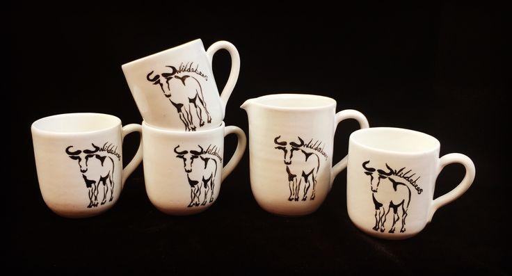 Wildebeest mugs custom made for a lodge.