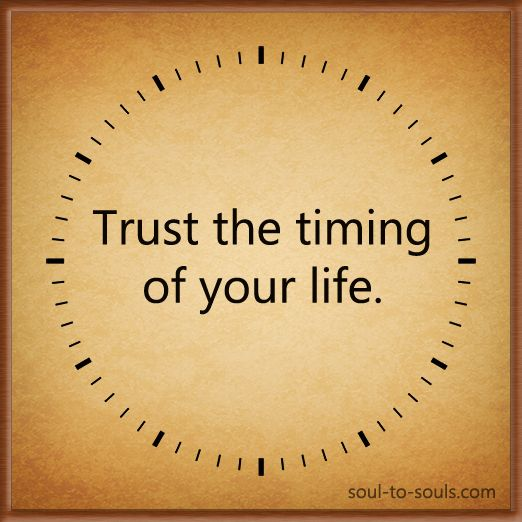 Trust The Timing Of Your Life. Www.soul-to-souls.com