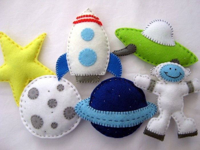 Outer Space sewing project for Nursery. The URL is dead, so I am just using the pic as a guide for my own pattern.