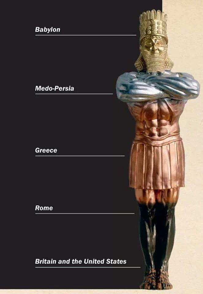 The dream of Nebuchadnezzar was a true prophecy: The clay is the New World mixed with the iron of Rome and it will meet its inevitable end - The United States of America.
