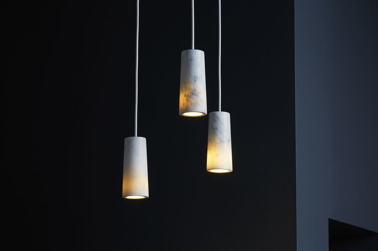 Core cluster of three pendants in Carrara marble.