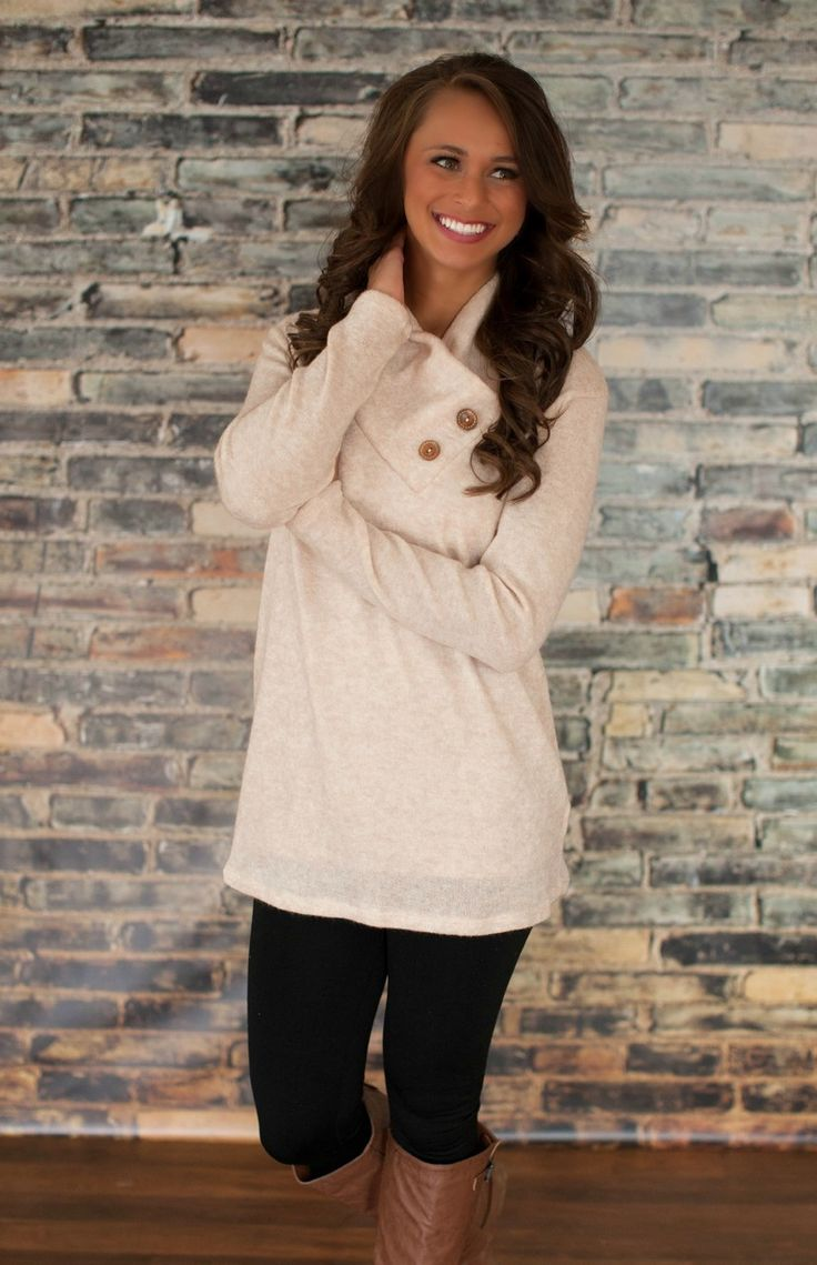 The Pink Lily Boutique - Oatmeal Button Sweater, $32.00 (http://thepinklilyboutique.com/oatmeal-button-sweater/)