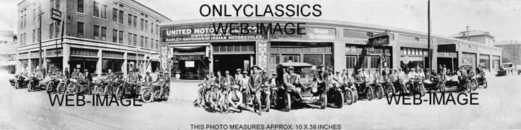 1923 HARLEY DAVIDSON AND INDIAN MOTORCYCLE DEALER LINEUP PANORAMIC 10X36 PHOTO | Collectibles, Transportation, Motorcycles | eBay!