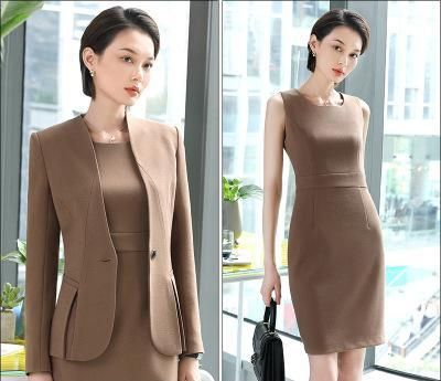 YAUAMDB women dress suits 2018 spring autumn S-3XL female blazer clothing set blazer+knee length dress 2pcs ladies clothes ly158