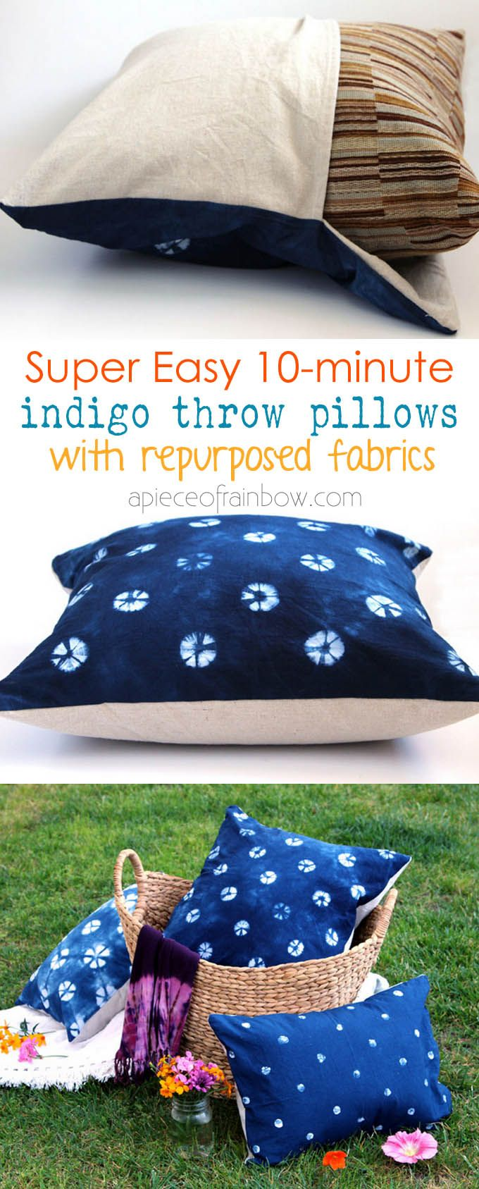 Make envelope throw pillows in less than 10 minutes using re-purposed fabrics such as canvas drop cloth : super easy, no sewing skill required! - A Piece Of Rainbow