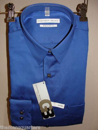 "Mens Geoffrey Beene ""Danish"" Blue Sateen Wrinkle Free Dress Shirt New Point Col | eBay"
