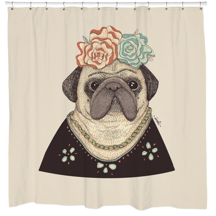 From the talented Indi Maverick comes Frida Puglo! This dog shower curtain will make you smile every time you shower. Sharp Shirter prints this dog shower curtain design on a high-quality polyester cu