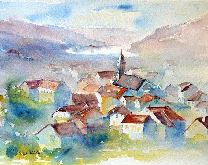 Original Watercolor Of A Landscape In France In The Region Of