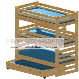 triple bunk bed plan extratall with storage drawers or trundle bed