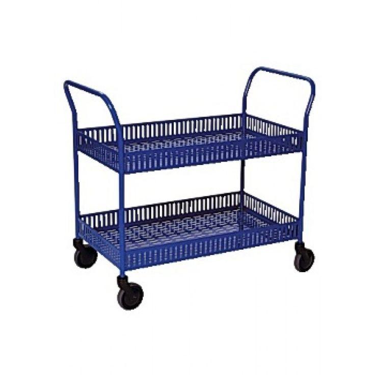 Rullbord 2 korghyllplan blå Köp Vagnar online på nätet hos kontorsproffset.se