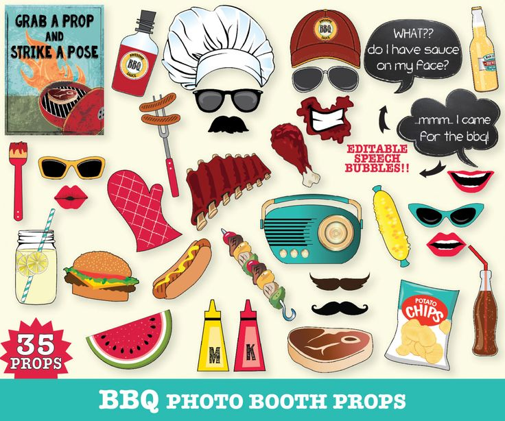 Barbecue Photo Booth Props I bbq BabyQ douche bbq