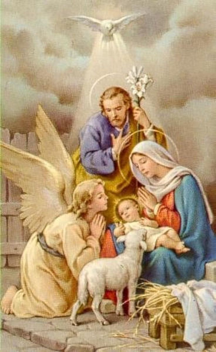 Simbolos: Paloma, oveja, ángel, azucena o flor de lys, padre, madre, manos juntas: oración, paja y triángulo. siemprehayunangel