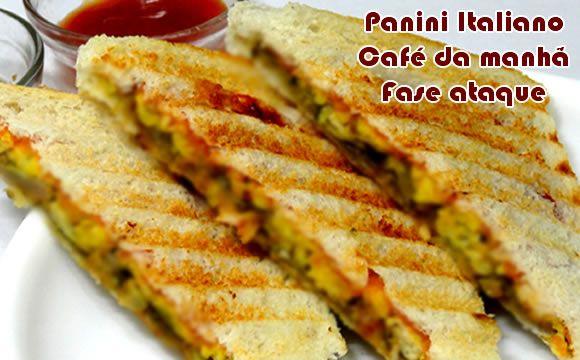 Receita de panini italiano para a partir da fase ataque dukan. Receita simples, fácil e com várias opções de recheios.