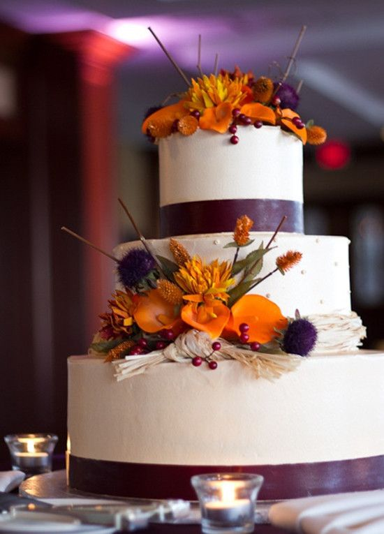Fall Wedding Ideas and Invitations-Purple and Orange Wedding |