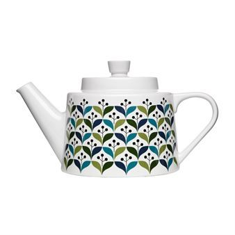 Retro teapot has a lovely pattern inspired by design from the sixties.