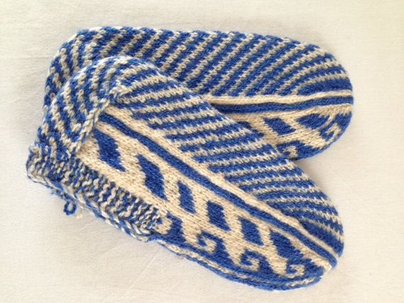 Traditional Hand Knitted Women's Slippers Blue and White Colours Combined and Designed, women booties,slipper socks, mothers day present on Etsy, 25,00$