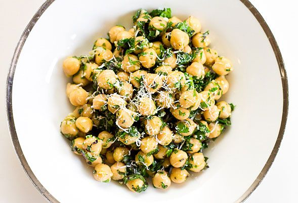 I am so making this. We just got a ridiculous amount of kale at the farmer's market and already have chick peas soaked for cooking. No canned beans for me! Chickpea Kale Salad ready