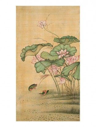 Lotus Printed Botanical Artwork on Paper-Mahaveer Swami- 18in x 12in