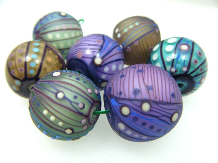 moogin eclectic pastel shades lampwork bead set to by mooginmindy