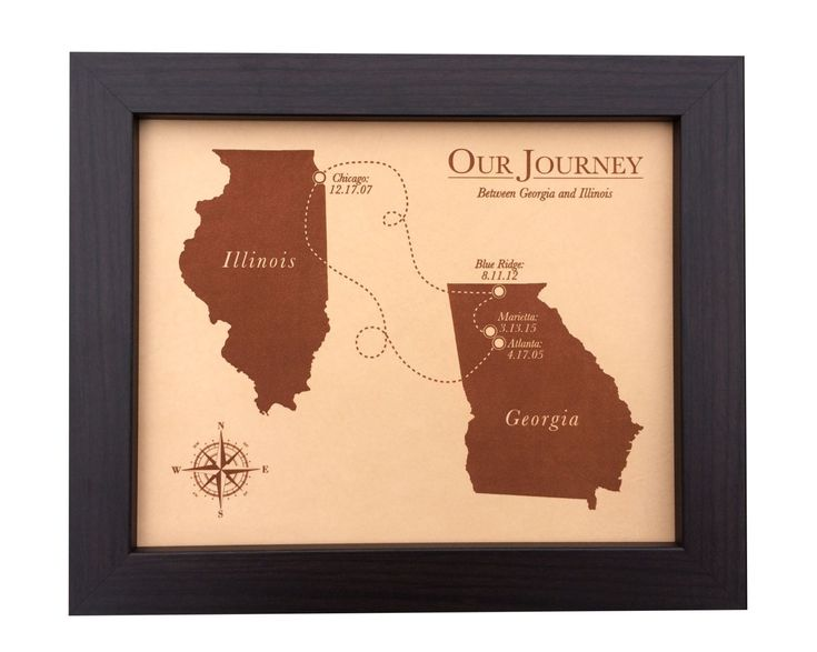 Leather Anniversary Gift - laser engraved map - 3rd anniversary