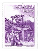 Borlänge Folkets Park - nu som frimärke. En del i Postens utgivning av frimärken med folkparkstema.