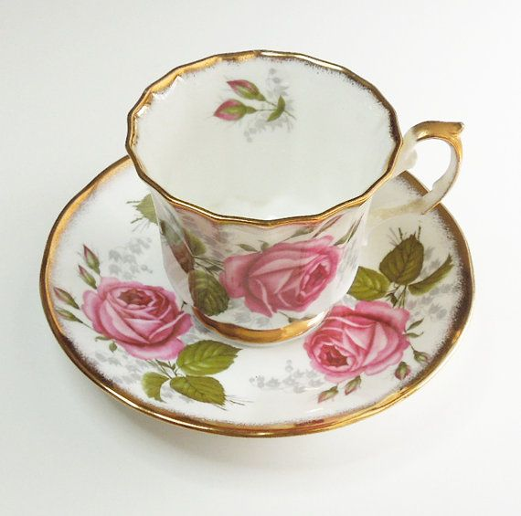 Queen's China Staffordshire teacup tea cup saucer by indiecreativ