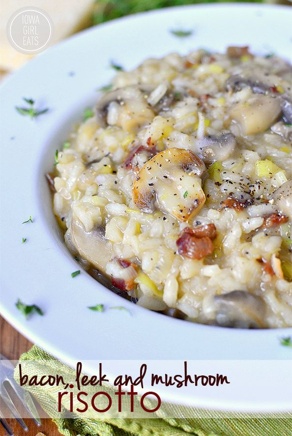Bacon, Leek and Mushroom Risotto is a light and easy supper or side dish to serve any night of the week. | iowagirleats.com