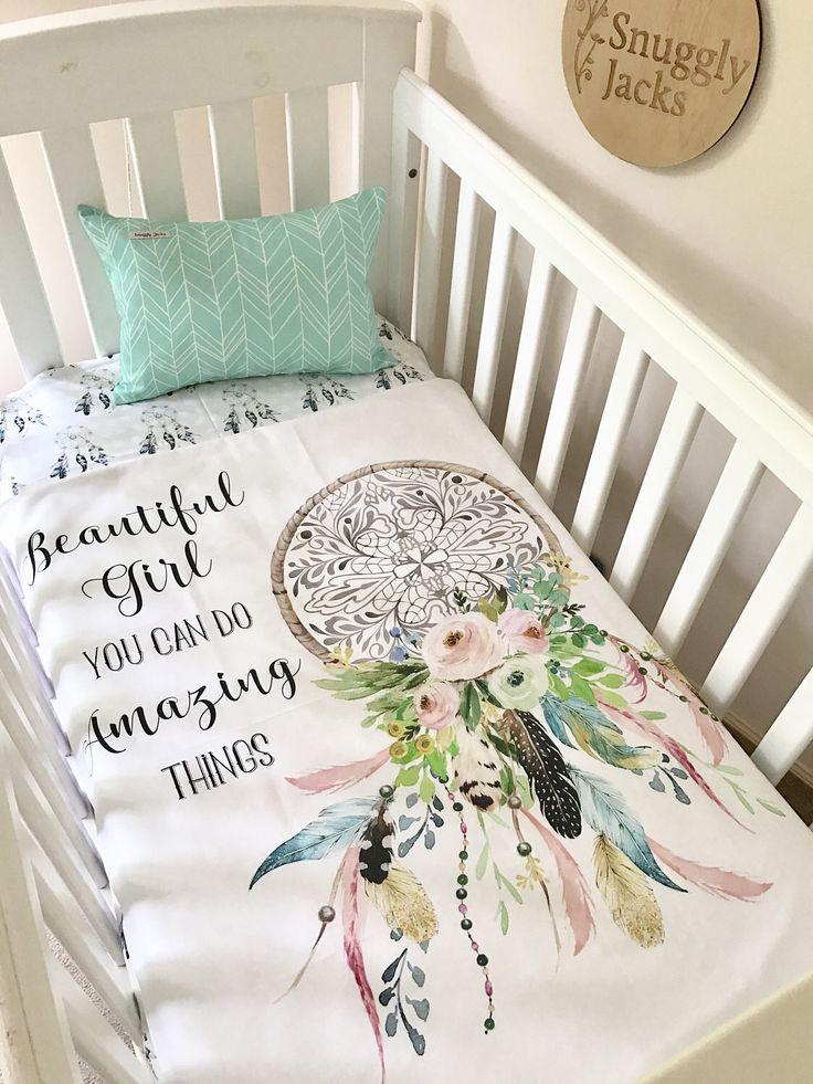Baby Cot / Crib Quilt Blanket Boho Amazing Things Dreamcatcher Baby Girl Crib Set Sheet Cushion by SnugglyJacks on Etsy https://www.etsy.com/listing/507915136/baby-cot-crib-quilt-blanket-boho-amazing