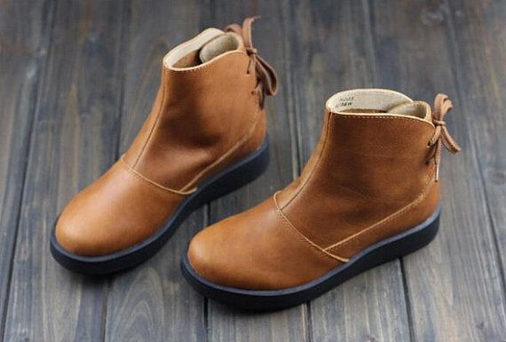 Handmade Women Brown BootsAnkle BootsOxford Women Shoes by HerHis