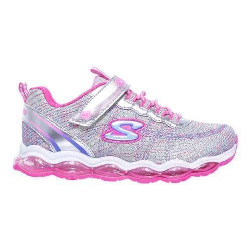 Girls' Skechers S Lights Air Lites Sneaker Silver/Pink