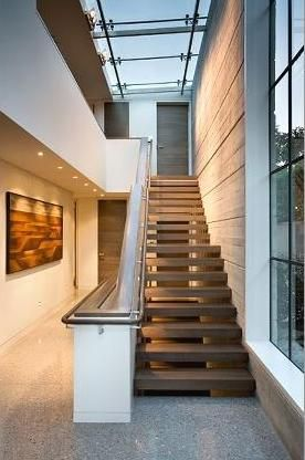 glass steel roof windows stair interior design