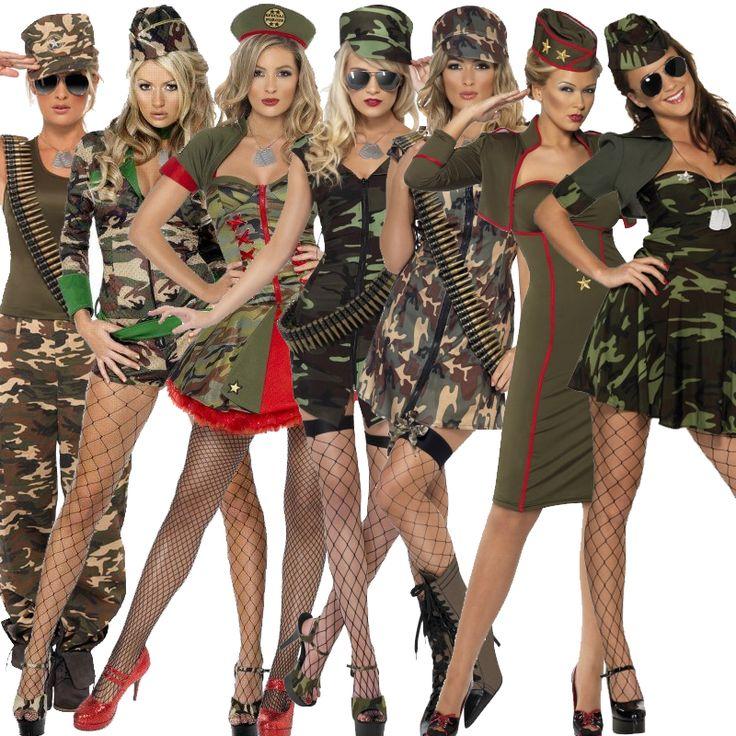 Adult Ladies Army Girl Fancy Dress Combat Military Uniform Costume ...