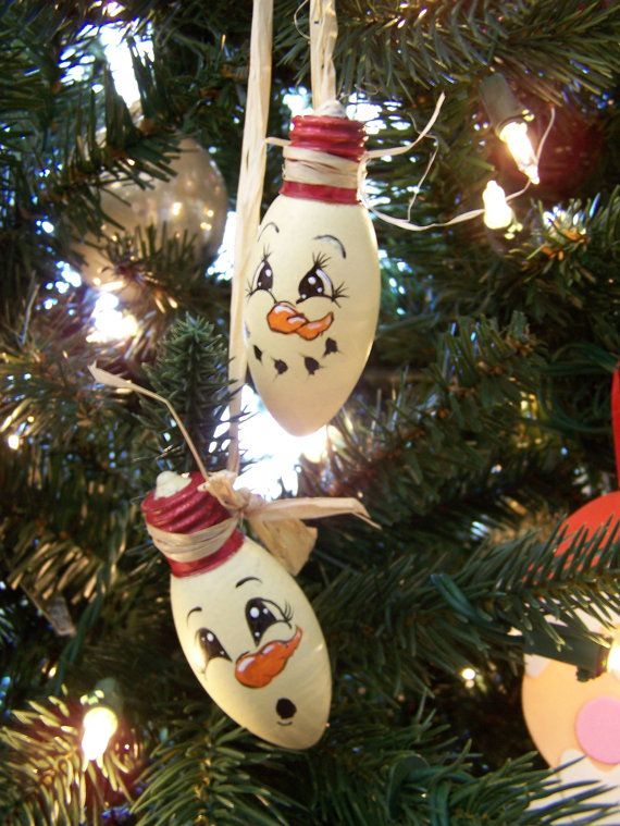 Hand Painted Santa Ornament from old Christmas bulbs.
