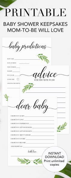 Printable baby shower games by LittleSizzle. Create magnificent keepsakes with this greenery baby shower activity package. The set includes everything you need to engage your baby shower guests during the party and makes a beautiful keepsake for the mom-to-be afterwards. This fun baby shower game pack includes the following popular baby shower activities: • Baby Prediction card • Baby Wishes card • Advice for the mom-to-be card #babyshowergames #babyshowerideas #green #printable #DIY