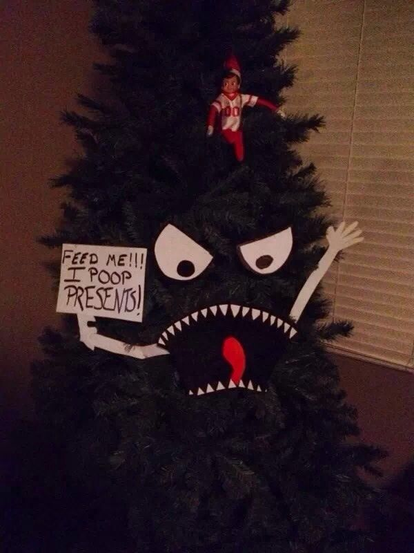 FEED ME! I POOP PRESENTS! (Friend's tree for hide the elf.) - Imgur