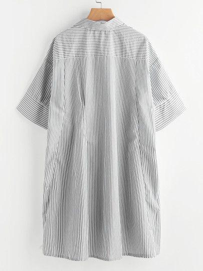 Drop Shoulder Dip Hem Striped Shirt Dress