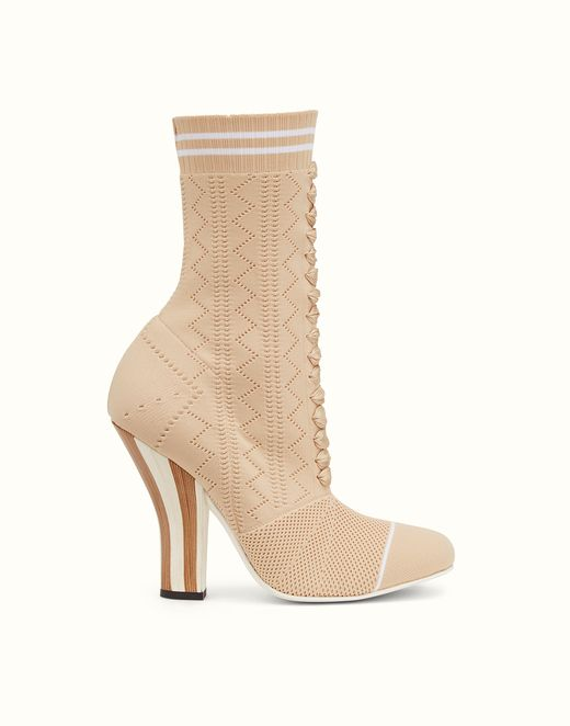BOOTS - Boots in beige and white fabric. Discover the new collections on Fendi official website. Ref: 8T6514OD8F08RZ