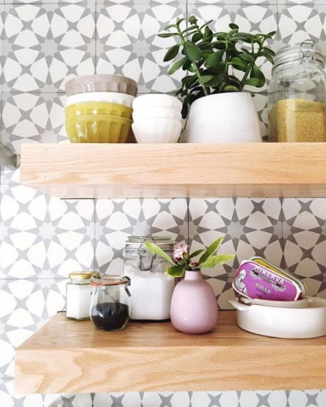 Spanish-Inspired tiles and open shelves