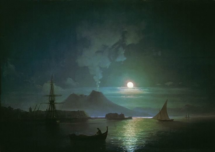 The Bay of Naples on a  Moonlit Night - Vesuvius, 1870 by Ivan Aivazovsky